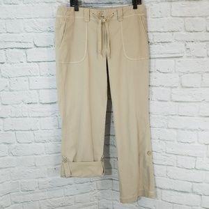 Eddie Bauer Tan Button Tab Roll Up Pants